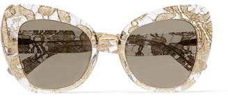 Dolce & Gabbana Cat-eye Acetate And Metallic Lace Mirrored Sunglasses - Gold