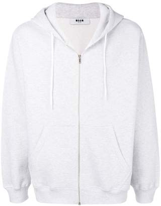 MSGM embroidered logo zipped hoodie