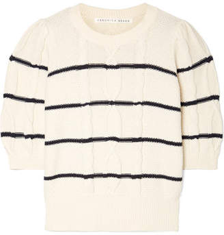 Veronica Beard Moss Striped Cable-knit Cotton Sweater - Navy