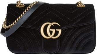 Gucci Small Velvet Marmont Matelasse Shoulder Bag