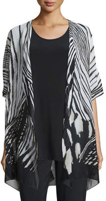 Caroline Rose Summer Safari Short-Sleeve Cardigan, Plus Size