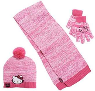 SANRIO Girls Hello Kitty Knit Cold Winter Set- Hat, Gloves, & Scarf