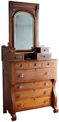 Rejuvenation Large Figured Maple Empire Chest of Drawers w/ Mirror
