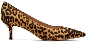 Gianvito Rossi Helsa Leopard Print Calf Hair Kitten Heel Pumps - Womens - Leopard