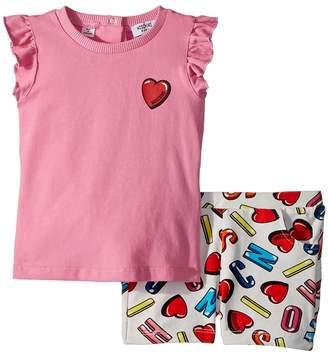 Moschino Kids Logo Heart Graphic T-Shirt Shorts Set Girl's Suits Sets