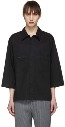 5e844255 Lemaire Black Military Three-Quarter Sleeve Shirt