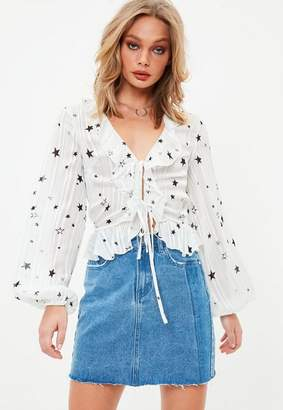 Missguided White Ruffle Front Tie Tea Blouse