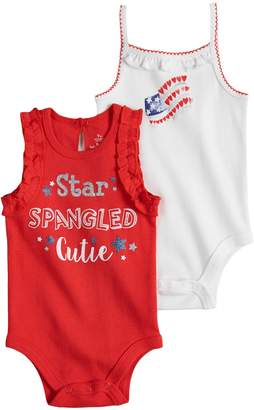 Baby Starters Baby Girl 2-pk. American Flag Graphic & Glittery Slogan Bodysuits
