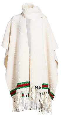 Gucci Women's Wool Moss Stitch Wrap Cape with Green & Red Stripe