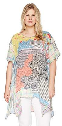 Johnny Was Women's Plus Size Scalloped V-Neck Patterned Rayon Top