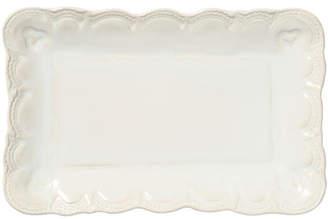 Vietri Incanto Stone Lace Small Rectangular Platter, Linen
