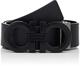 Salvatore Ferragamo Men's Double Gancini-Buckle Leather Belt - Black