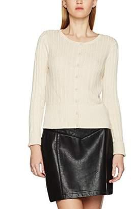 Vero Moda Women's Vmnanne Ls O-Neck Cardigan Noos, White (Oatmeal), (Size: Medium)