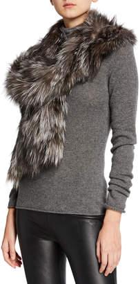 Gorski Fox Fur Ruffle Pocket Stole, Navy