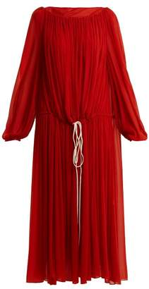 By. Bonnie Young - Boat Neck Balloon Sleeved Chiffon Dress - Womens - Red