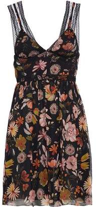 RED Valentino Point D'esprit-Paneled Floral-Print Silk-Georgette Mini Dress