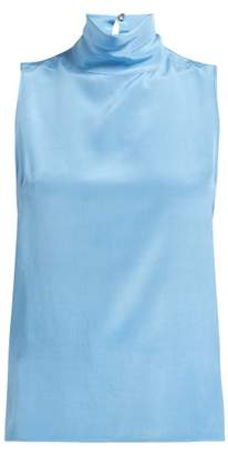 Worme - The High Neck Silk Tank Top - Womens - Light Blue