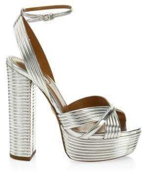 Aquazzura Sundance Plateau Metallic Sandals