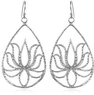 At Satya Jewelry Sterling Lotus Teardrop Earrings