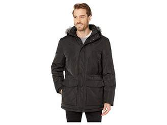 Calvin Klein Nylon Puffer Jacket with Faux Fur Hood