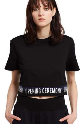 Opening Ceremony Black Elastic Logo Cropped Tee