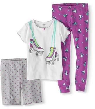 Carter's Toddler Girl Short Sleeve Top, Shorts, & Pants 3pc Pajamas Set