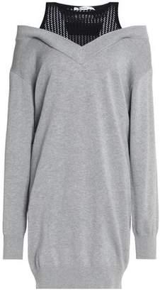 Alexander Wang Cold-Shoulder Mesh-Paneled Cotton And Modal-Blend Dress