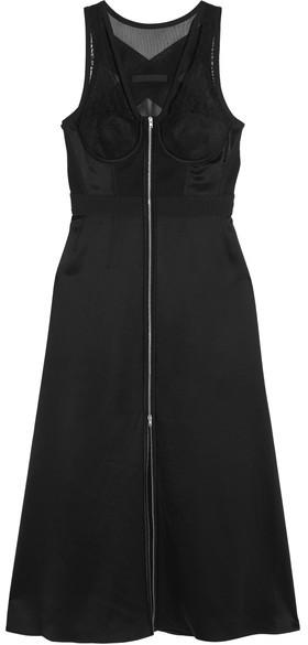 Alexander WangAlexander Wang - Mesh And Lace-paneled Silk-satin Dress - Black