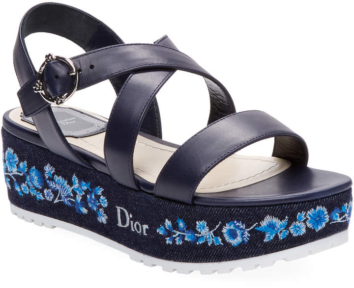 Dior Women's Denim Leather Wedge Sandal
