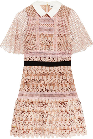 Self-Portrait - Guipure Lace Mini Dress - Blush