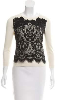 Diane von Furstenberg Lace-Trimmed Wool Sweater