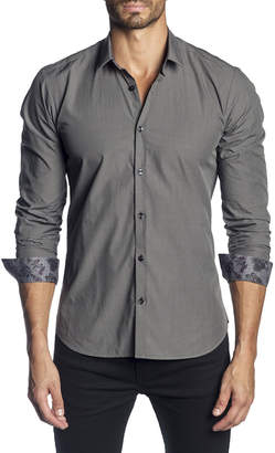 Jared Lang Men's Semi-Fitted Solid Long-Sleeve Button-Down Shirt with Floral Cuffs