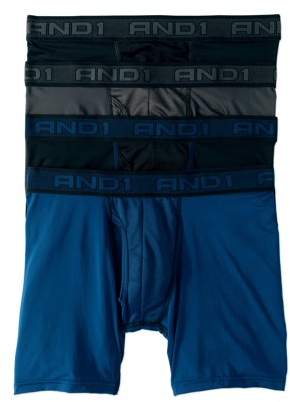 AND 1 AND1 Men's Performance Boxer Briefs with Mesh Fly Pouch, 4-Pack