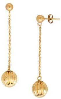 Lord & Taylor 14K Yellow-Gold Chain & Ball Drop Earrings