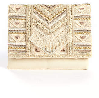 La Chic Designs Fold Over Embellished Fringe Clutch