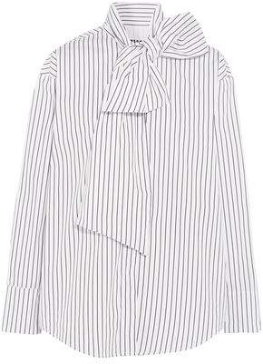 MSGM Pussy-Bow Striped Cotton-Poplin Blouse