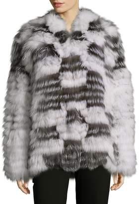 Peri Luxe Women's Shawl Collared Fox Fur Jacket