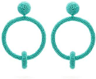Oscar de la Renta Beaded Hoop Drop Clip Earrings - Womens - Light Blue