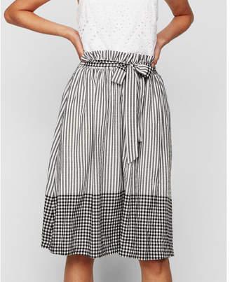Express mixed pattern sash tie waist midi skirt