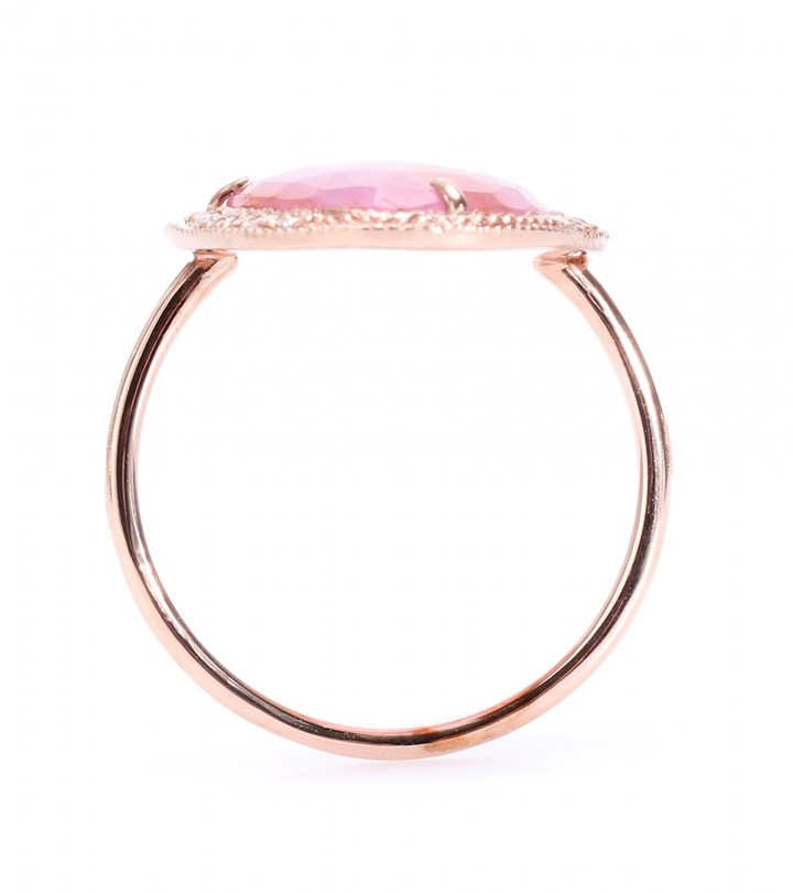 Jacquie Aiche 14KT ROSE GOLD PARTIAL WHITE DIAMOND GLASS RUBY BEZEL RING