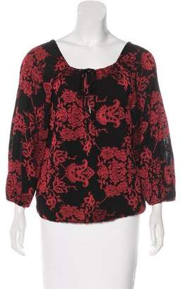 Alice + Olivia Embroidered Long Sleeve Top