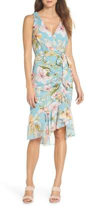 Eliza J Floral Print Faux Wrap Midi Dress