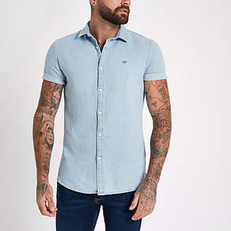 River Island Blue denim wasp embroidered shirt
