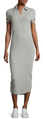 Helmut Lang Slit-Cuff Heathered Jersey Midi Dress, Gray $295 thestylecure.com