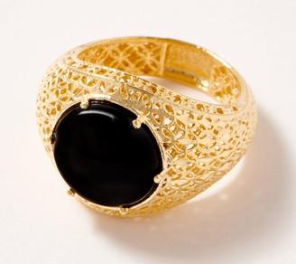 Italian Gold 14K Gold Round Cabochon Gemstone Ring