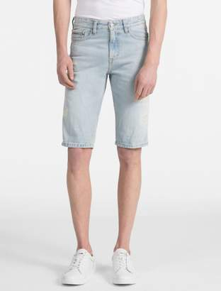 Calvin Klein slim fit light blue stonewash jean shorts