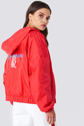 Calvin Klein Hooded Zip Up Nylon Windbreaker Tomato