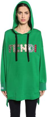 Fendi Hooded Embellished Logo Sweatshirt