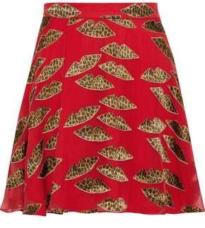 Alice + Olivia Blaise Appliqued Chiffon Mini Skirt