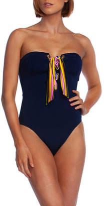 Trina Turk Lace-Up Bandeau One-Piece Swimsuit